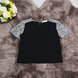 Black and White Tweed Short Sleeves Blouse